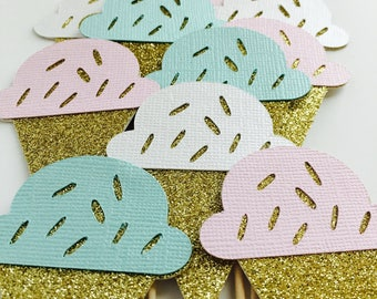 Ice Cream Cupcake Toppers - Gold/Pink - First Birthday - Ice Cream Cones #51600
