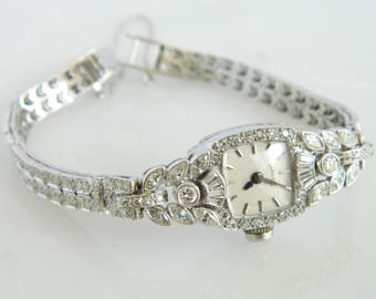 Beautiful Platinum Hamilton Diamond Ladies Wrist Watch