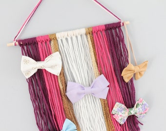 Hair Bow Holder, Bow Holder Frame, Hanging Hair Bow Holder, Hair Bow Organizer, Boho Wall Hanging, Boho Wall Hanging Hair Bow Holder