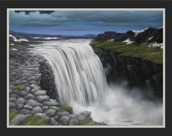 "Original 12x16"" Oil Painting - Iceland Waterfall Dettifoss Wall Art"