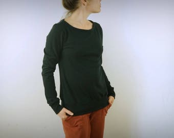 thick t-shirt in organic cotton jersey black openwork