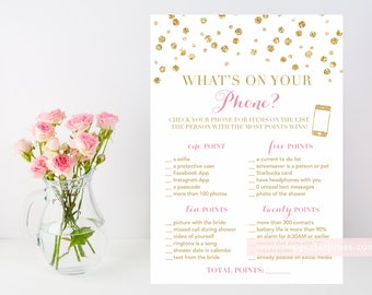 What's on your phone? Gold glitter confetti printable shower game, pink and gold, phone shower game, INSTANT DOWNLOAD 008