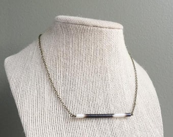 African Porcupine Quill Bar Necklace - Antique Brass - Choker Necklace