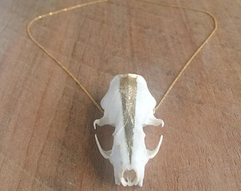 Gold-Flaked Mink Skull Necklace - Naturally Found - Bone Jewelry - Gold Flake