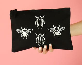 Bee & Beetle Insect Print Clutch Bag Pouch - White on Black