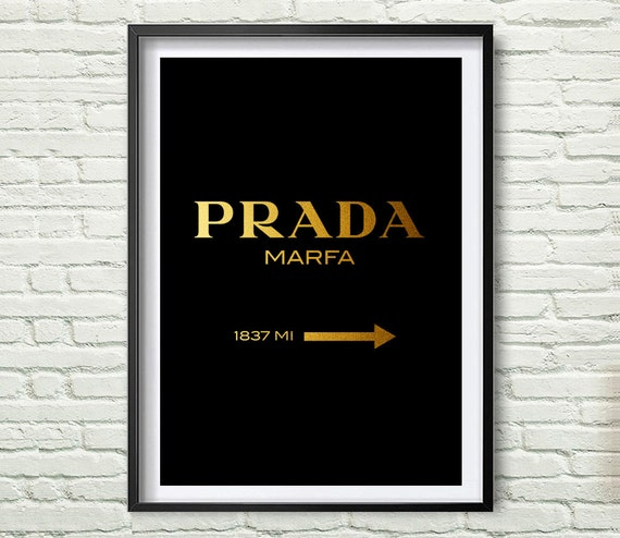 a2 poster prada marfa wall art gold fashion print fashion. Black Bedroom Furniture Sets. Home Design Ideas