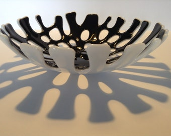 FREE SHIPPING - Black & White Fused Glass Coral Bowl