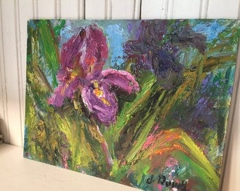 OOAK Vintage OIL 8x10 Floral Painting on Board Abstract Green FUCHSIA Purple Flowers Shabby Chic Cottage Garden Wall Art