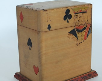 Vintage Playing Cards Box With Primitive Hand Applied Decoration, Circa 1950s