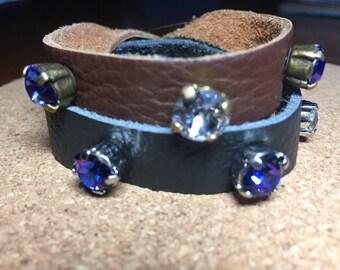 Genuine Leather (soft) Swarovski Crystal Wrap Cuff Snap Clasp Bracelet- custom colors-black or brown leather