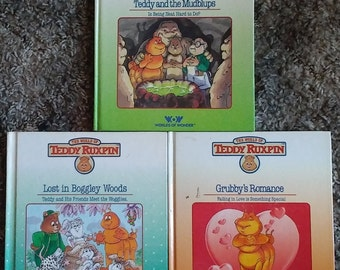 3 Vintage Children's 80's Books OOP Hardback Teddy Ruxpin Grubby's Romance/Lost in Boggley Woods/Teddy and the Mudblups