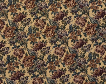 Beige Green And Burgundy Vintage Floral Tapestry Upholstery Fabric By The Yard | Pattern # F672
