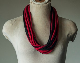 Recycled T-Shirt Necklace Red and Black