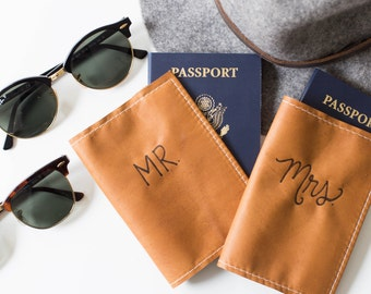 Mr & Mrs Leather Passport Cover, Anniversary, Wedding Gift, Honeymoon, Travel  Accessory, Cognac Leather, Burned Calligraphy, Personalized