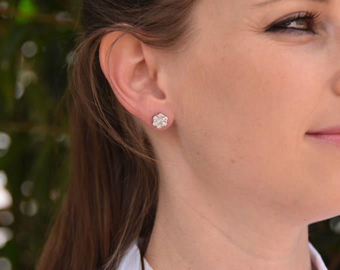 1.20 carat Gold Diamond Earrings-14K White Gold Earrings-Stud Earrings-Women Jewelry-Solitaire diamond earrings-Birthday present-For her