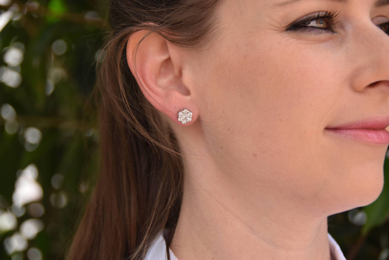 1 20 carat Gold Diamond Earrings 14K White Gold Earrings Stud