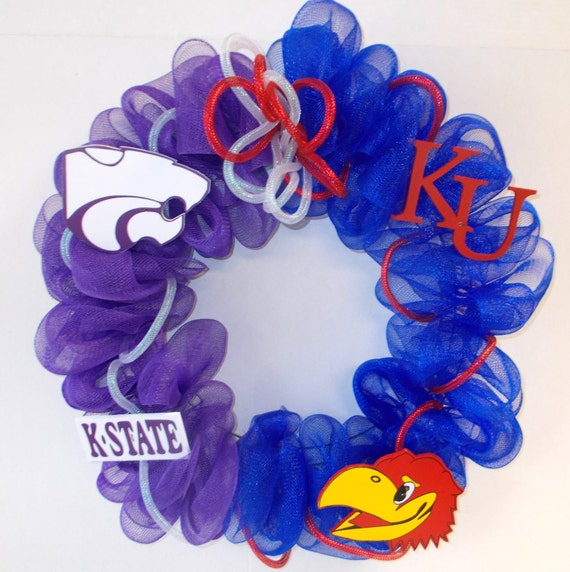 House Divided Ku K State Deco Mesh Wreath Home Decor 25