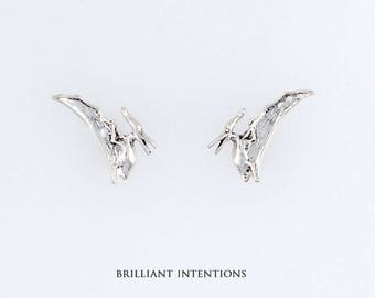 925 Sterling Silver Pterodactyl Design Post or Stud Earrings, Dinosaurs & Fine Jewelry - BI-1214