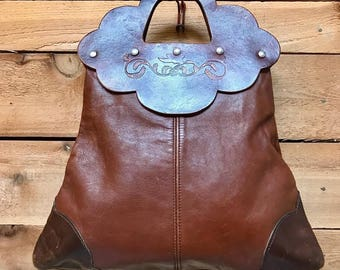Vintage 1970s Large Tooled Leather Clutch Vtg 70s Brown Handcrafted Tote Handbag with Sparrow Detail Studded Handle