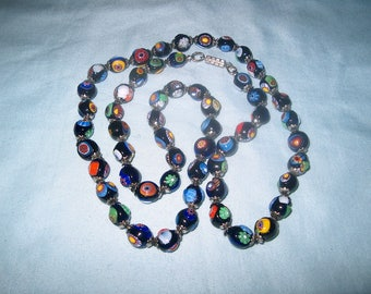 Vintage Millefiori Glass Necklace, Beaded, Italy, WAS 30.00 - 20% = 24.00