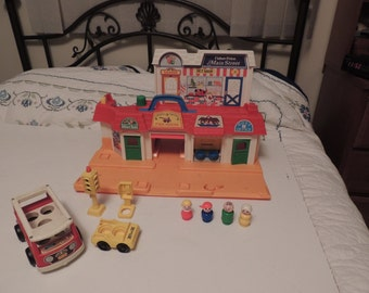 Vintage Fisher Price Play Family Main Street Post Office Fire w Accessories 2500