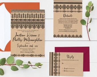 Southwest Rustic Wedding Invitation Suite | Editable Invitation | Instant Download PDF | Custom Printable Wedding Invitation | Native Print