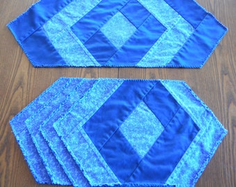 Set of 4 Blue Diamond Center Placemats With Matching Table Runner