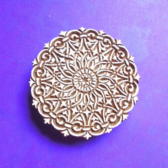 Large inch hand carved geometric round fabric textile