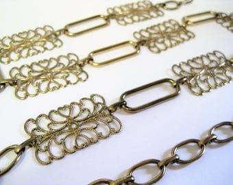 Vintage Filigree Link Chain Belt / Gold Tone Chain Belt / Boho Adjustable Link Belt