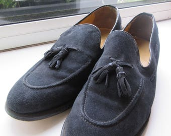 Vintage Blue Suede Shoes MADE IN ENGLAND By 'Samuel Windsor' - Size 7.5