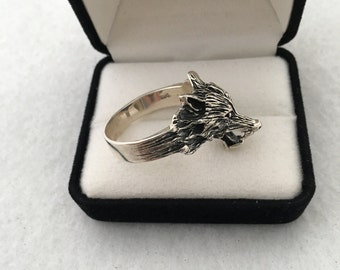 Mad Wolf Men's Large Ring Size Sterling Silver 925 Figural 3D Unique Animal Ring