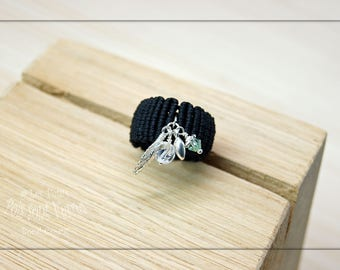 Ring micromacrame with 925 Silver charms
