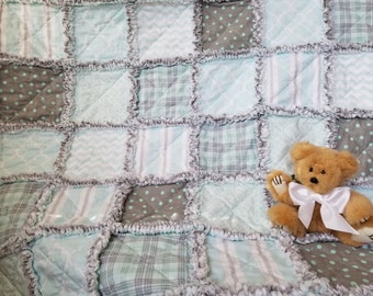 Aqua and gray rag quilt for baby boy