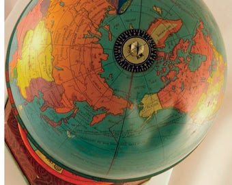 Vintage J Chein & Co Tin Globe/Antique Tin Toy Globe/Tin Lithograph  World Globe/J Chein Tin Globe/World Globe/Lithograph Map Tin Globe