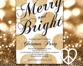 Merry and Bright Christmas Party Invitation - 5x7 Printable