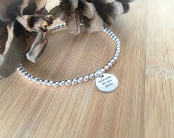 Choose your phrase and take it with you! Silver bracelet with pendant engraved laser