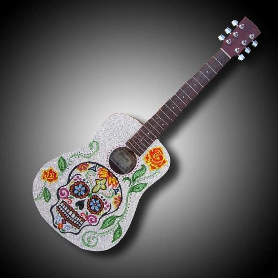 Dia De Los Muertos Guitar Art My Sugar Skulls
