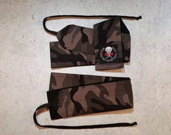 Black Gray Camo, Rip Stop, Wrist Wrap, WOD, Weightlifting, Athletic