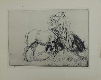 "Antique Edmund Blampied Dry Point Etching Print ""Horses Eating Hay"" c. 1926"