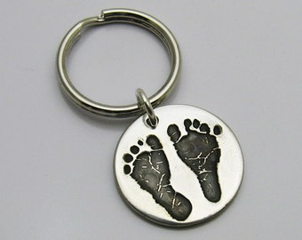 Footprint Jewelry, Footprint Charm, Baby's Footprints Jewelry, Baby's Handprint Jewelry, Personalized Charm, Silver Footprint, Memorial
