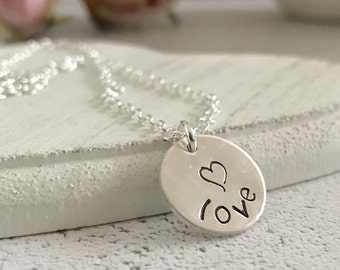 Heart Necklace, Love Necklace, Valentines Day Gift, Hand Stamped Sterling silver