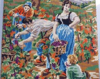 Canvas, tapestry the harvest, framed vintage 1970, handmade made in france