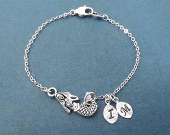 Personalized, Letter, Initial, Mermaid, Silver, Bracelet, Ariel, Mermaid, Bracelet, Birthday, Lovers, Friends, Sister, Gift, Jewelry