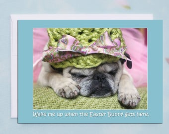 Wake Me Up 5x7 Easter Pug Card by Pugs and Kisses