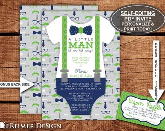 Little Man Baby Shower Invitation, Onesie, Bow Tie, Suspenders, Blue, Green, Mustache, Self-Editing PDF Invite, BONUS Diaper Raffle File