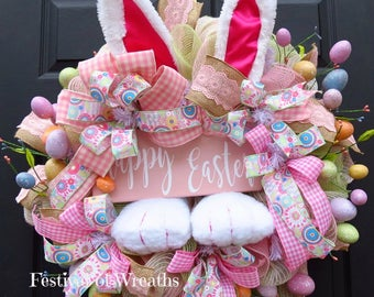 Easter Deco Mesh Wreath - Easter Front Door Wreath - Easter Bunny Wreath - Deco Mesh Wreath - Mesh Wreath - Easter Door Wreath - Bunny