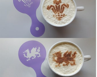 2 x Welsh coffee cup stencils (dragon & Welsh feathers) reusable present fundraising cafe Wales  cappuccino 6 nations St. Davids Day rugby