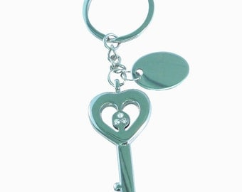 Valentines heart key keychain custom engraved / personalised with black velvet gift pouch BR152