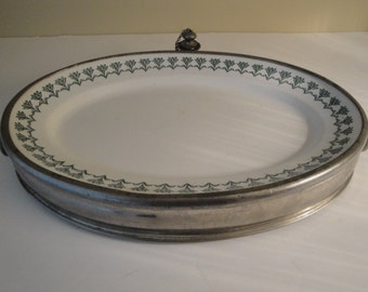 Nice Antique Manning Bowman Quality Hot Water Warming Platter With Carrying Handles And Water Stopper - Complete