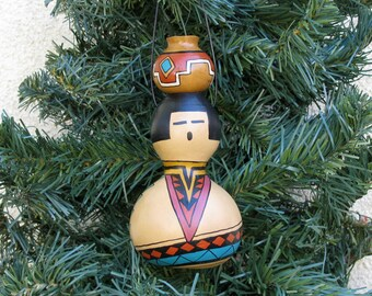 Southwestern Hand-painted Bottle Gourd Christmas Ornament with Miniature Pot Southwest Pottery Inspired #238